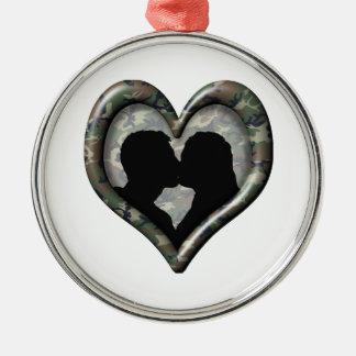 Camo Kissing Couple Heart Ornaments