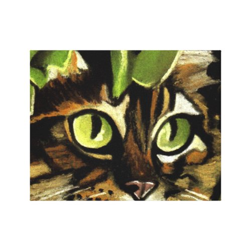 Camo Kitty Canvas Print - cat camo wall decor