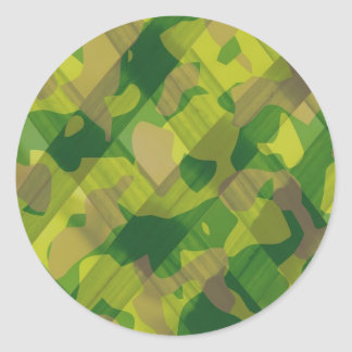 Camo Leaves Camouflage Pattern Gifts Classic Round Sticker
