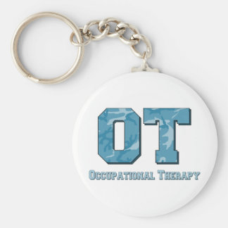 camo letters blue basic round button keychain