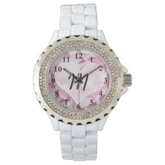 Camo lindo y los corazones personalizaron el reloj de mano