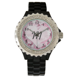 Camo lindo y los corazones personalizaron el relojes de mano