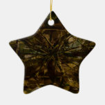 Camo Lover Petal Design Double-Sided Star Ceramic Christmas Ornament