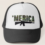 "Camo &#39;MERICA Rifle Hat<br><div class=""desc"">It&#39;s the very cool,  patriotic,  camouflage &#39;MERICA hat,  featuring a rifle below the word in black.  A classic trucker hat for pro gun people,  hunters,  or anyone!  Choose from many hat colors,  and grab yours today.</div>"