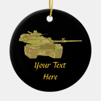 Camo Military Tank Design Double-Sided Ceramic Round Christmas Ornament