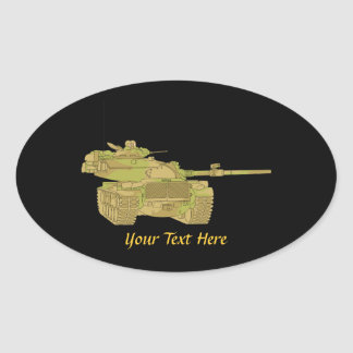 Camo Military Tank Design Oval Stickers