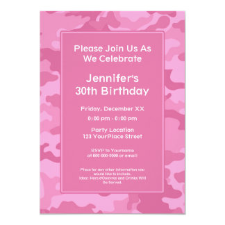 Camo Military Theme Birthday Party Card