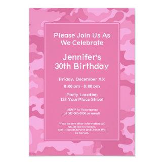 "Camo Military Theme Birthday Party 5"" X 7"" Invitation Card"
