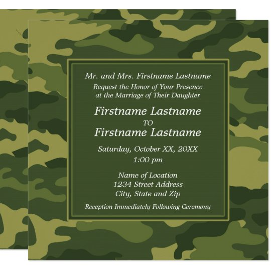 Marine Wedding Invitations: Camo Military Wedding Invitation