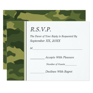 Camo Military Wedding RSVP Card