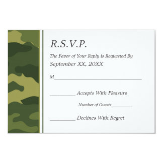 "Camo Military Wedding RSVP 3.5"" X 5"" Invitation Card"