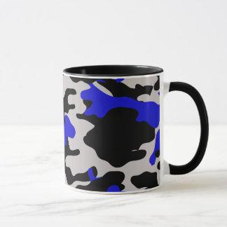 Camo negro y azul taza