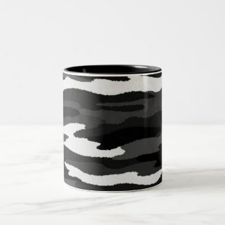 Camo negro y blanco taza de café de dos colores