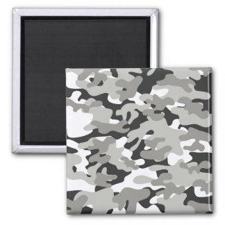 Camo negro y gris imán cuadrado