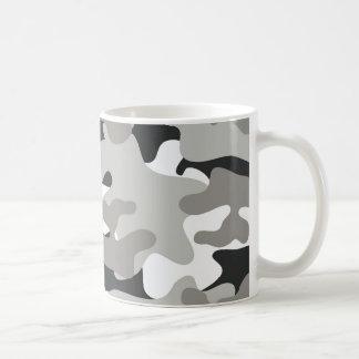 Camo negro y gris taza de café