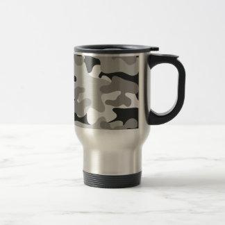 Camo negro y gris taza de viaje