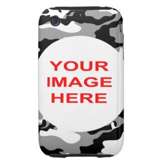 CAMO NEGRO Y GRIS TOUGH iPhone 3 PROTECTORES