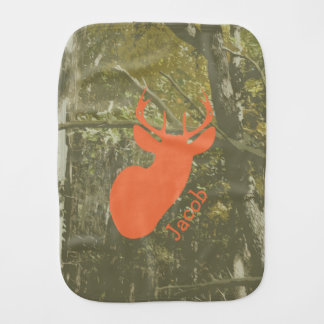 Camo + Orange Deer Burp Cloth