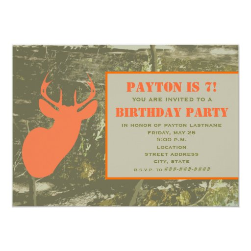 Camo orange deer head birthday party invite zazzle for Camouflage party invitation template