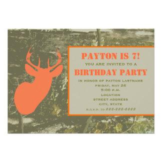 Camo Orange Deer Head Birthday Party Invite