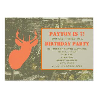 Camo & Orange Deer Head Birthday Party Invite