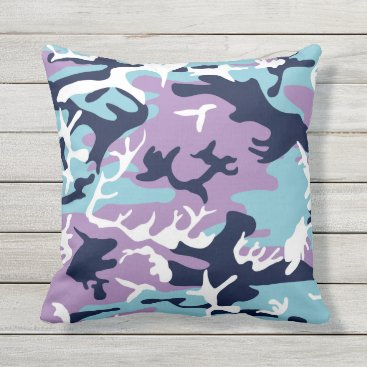 Camo Pattern - Purple Navy Blue White Outdoor Pillow