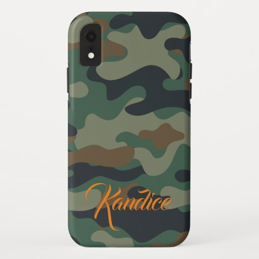 Camo Pattern with Orange Monogram iPhone XR Case