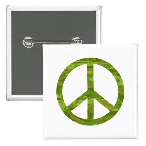 Camo Peace Sign Button