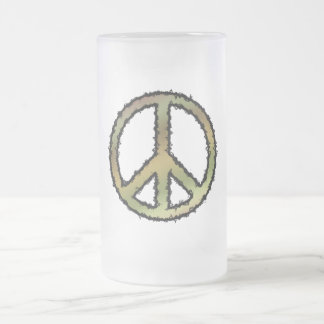 Camo Peace Sign Frosted Glass Beer Mug