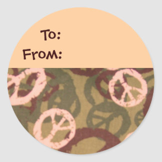 Camo/Peace Signs Look Gift Tag Classic Round Sticker