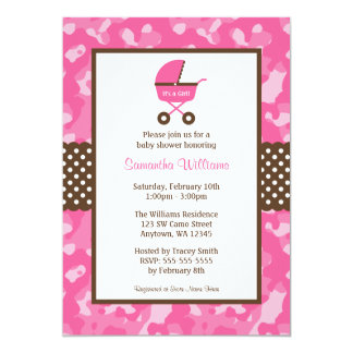 Camo Pink Brown Carriage Dots Baby Shower 5x7 Paper Invitation Card