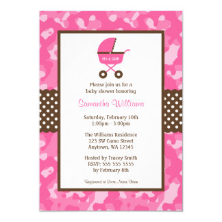 Camo Pink Brown Carriage Dots Baby Shower Card