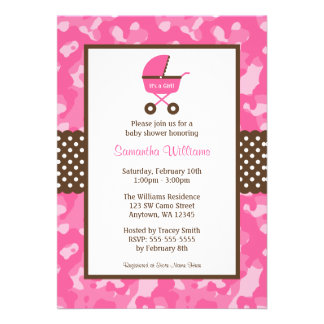 Camo Pink Brown Carriage Dots Baby Shower Invitation