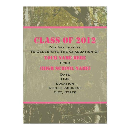 Camo & Pink Class Of 2012 Graduation Invitation
