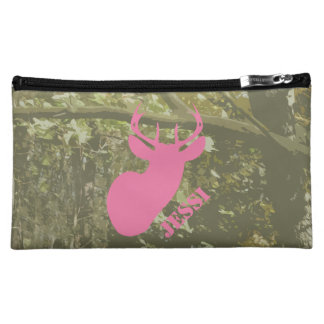 Camo & Pink Deer Head Cosmetic Bag