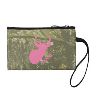 Camo & Pink Deer Head Key Coin Clutch Coin Wallet