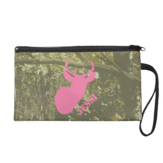 Camo & Pink Deer Head Personalized Wristlet