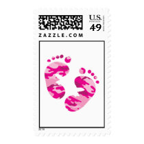 Camo pink Feet Postage Stamp for baby girl shower