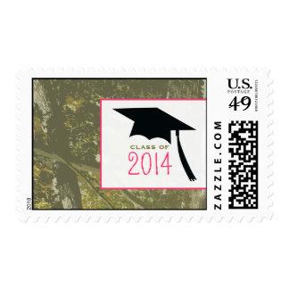 Camo & Pink & Graduation Cap Class of 2014 Stamp