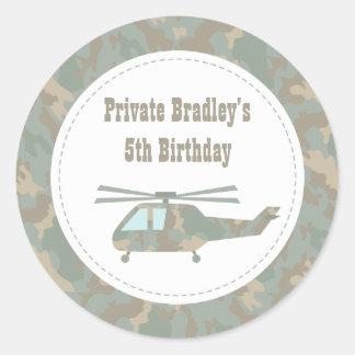 Camo Print Helicopter Army Boys Birthday Party Classic Round Sticker
