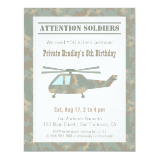 Camo Print Helicopter Army Boys Birthday Party 4.25x5.5 Paper Invitation Card