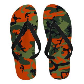 Camo Print Hunter Orange Flip Flops