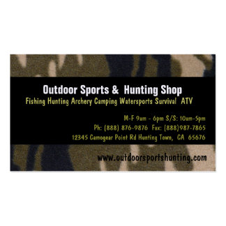 Camo Print Sportsman Hunting Outdoor Supplies Shop Business Card Templates
