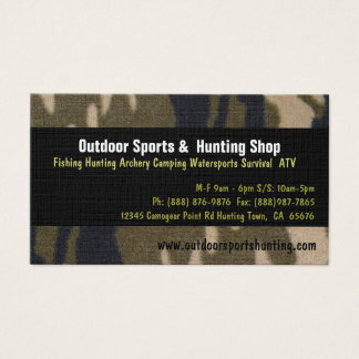 Camo Print Sportsman Hunting Outdoor Supplies Shop Business Card
