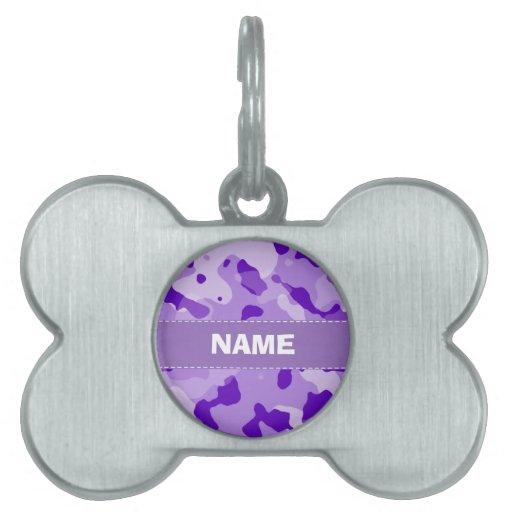 Camo púrpura Amethyst; Camuflaje Placa De Nombre De Mascota