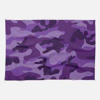Camo púrpura brillante lindo, camuflaje toalla de cocina