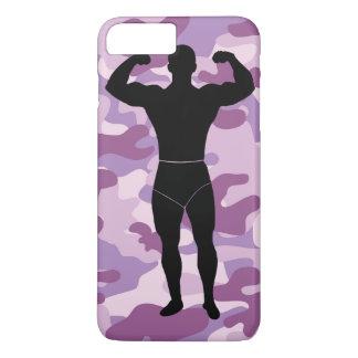 Camo púrpura con el caso de Iphone del Bodybuilder Funda iPhone 7 Plus
