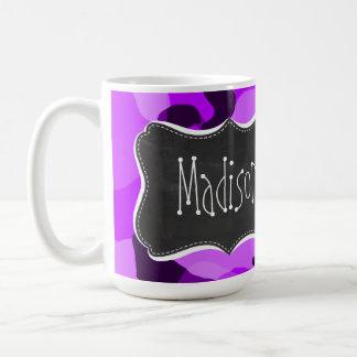 Camo púrpura eléctrico; Mirada de la pizarra del v Tazas De Café