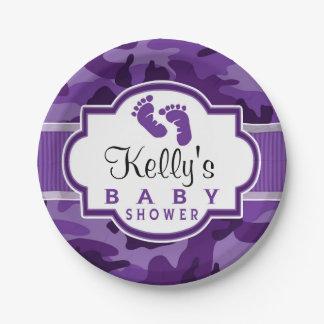 Camo púrpura violeta, fiesta de bienvenida al bebé platos de papel