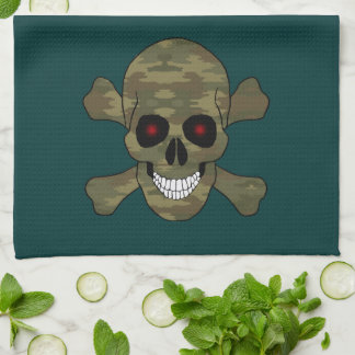 Camo Red Eyes Skull And Crossbones Kitchen Towel